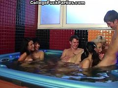Look how three amazingly cute dirty minded Russian girls give sloppy blowjobs and get their moist cunts plowed doggystyle in jacuzzi.