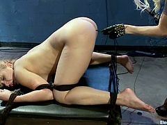 Tied up Lea stands on all fours and gets her ass wired by Lorelei Lee. Later on Lea Lexis also gets her ass stuffed with electric dildo.