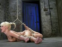 If she can't keep her legs wide open, there are BDSM methods like spreading legs with ropes. And that's what Lea Lexis is through!