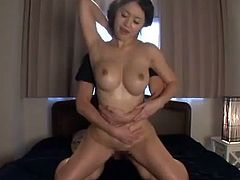 Amazing Asian MILF with flawless let two filthy dude to destroy her tight cunt. Enjoy watching this amazing hardcore threesome sex.