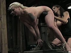 Lorelei Lee is having fun with chubby milf Sara Scott in a cellar. Lorelei ties Sara's tits around and then beats her big ass and fucks it hard with a strapon.