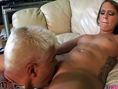 Slim brunette MILF gets her vagina licked and toyed with a vibrator. Later on she gets fucked in a cowgirl pose.