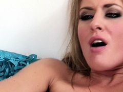 Kinky bitch with stretched anus tries to satisfy all her holes. She fucks anal cave with huge dildo toy and later gets her gaped ass hole rimmed by one raunchy guy.