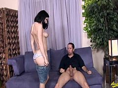 Short haired slut Tatiana Kush is ready to suck cock like a filthy slut. She deepthroats his big meat and can't get enough of it!