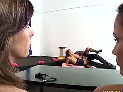 Sex on the table with kinky Allison Star and her horny friends