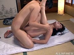 Japanese mature woman gets her vagina licked and then fucked in a missionary pose. Later on she plays with her shaved pussy in a bathroom.