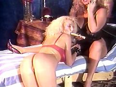 Seductive blonde babe with big natural tits Trinity Loren plays with her hooters in sexy lingerie. Then one guy and hot chick lick Loren's tasty pussy together.