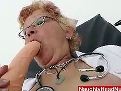 This aged nurse brought some toys from home, but she also decided to use medical equipment when she masturbates. She lays on the examination chair and spreads her hairy pussy lips.