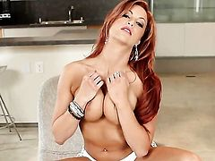 Jayden Cole touches her melons gently