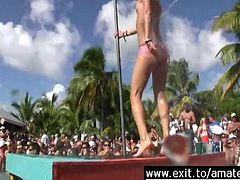 Miami Summer party last year My girlfriend stole the show for an elated party crowd Dancing in a water jet Exposing her hot ass I made many videos of horny public nudity