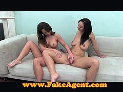 Two sizzling dark-haired bitches rub each other's pussies and get horny. Then they suck some stud's prick and enjoy riding his wang by turns.