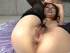 Hairy pussy of this slutty babe is so wet and tight