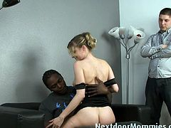 Courtesy of Next Door Mommies you can see a vicious blonde milf that's ready to cuckold her man with a black stud in this awesome interracial free porn video.