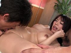 Full figured Japanese goddess Chinatsu Kurusu lies on bed totally naked letting two kinky guys fondle her big tits and her hairy cunt. Babe gets finger fucked and gives nice blowjobs.