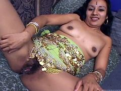Slim Indian girl sucks a cock and gets her bushy pussy fucked at the same time. Then she gets fucked by two guys in turn.