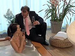 Engaging brunette chick is having fun with some dude in a bathroom. She admires the man with her cock-sucking abilities and then they bang doggy style and in the reverse cowgirl position.