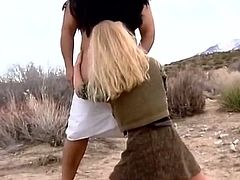 So let me explain what happens in here. One bitch does anal and gets facial. Then obe blondie is facesitting her lover outdoors and gives blowjob to dirty dude in desert.