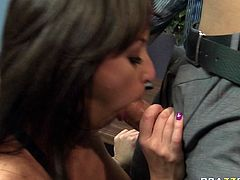 Danny Mountain is happy to suck massive tits of nasty black haired chick Breanne Benson. Breanne gets super horny and provides Danny's fat dick with amazing blowjob.