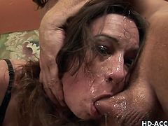 Brunette amber rayne brutally face fucked!