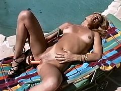Insatiable tanned blonde whore Angel pleases her pussy in solo. She fucks her vagina with her favorite dildo toy outdoor. be pleased with hot and steamy solo masturbation sex movie for free.