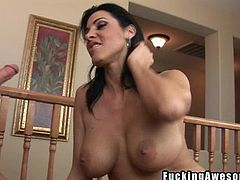 Dark haired mommy feels naughty and I know what to give her for that. She rubs her pussy and then I grab her by that sexy black hair and shovel my cock in her mouth. The whore takes it all the way in and as my dick slides in her throat she feels hornier! Well now, maybe I should quench her sex drive with some cum!