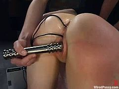Her mistress, the well known and feared Princess Donna Dolore attaches some electrode wires on her ass cheeks and only then runs that fucking machine!