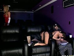 Shameless blondie Brynn Tyler is a clerk at the cinema. She caught one brunette babe sucking her boyfriend's cock and insteads of throwing them out she took bitch's place and sucked lucky dude's fat dick.