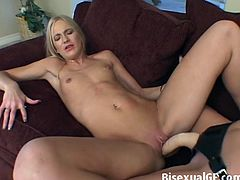 Watch Sex starved wife is fucked hard by her lesbian GF with a strap-on.These horny blonde babe loves fucking hard by using large dildo attached on strap-on.