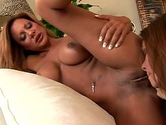 Cayton Caley and Demi Delia are two superb MILFs in sexy lingerie. They lie down on a sofa and fondle their juicy tits. Of course they also lick and toy their soaking pussies.
