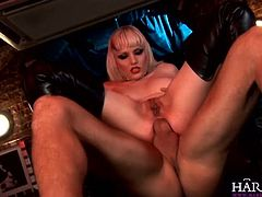 Watch the vicious blonde slut Alexandra Kat getting her tight ass drilled into heaven with a hard cock. She looks very hot in those black boots!