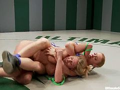 Darling, Charisma Cappelli and one more skank are having a struggle on tatami. They wrestle with each other and then two dominant hotties bind their rival and fuck her mouth and snatch with a strapon.