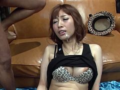 Slutty brunette hoe moans wild getting her punani toy fucked intensively. The guy behind the camera jerks off watching after Tiara. When he cums he shoots fat facial cumshot to Tiara so the cum is dripping down her face and chin.