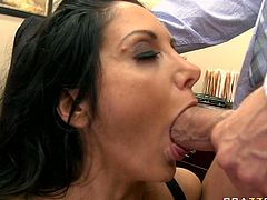 Slutty big boobe MILF Ava Addams gives her cocky stud amazing slopy blowjob. Thick babe lies on table and lets her man dig her dirty asshole with his tongue.