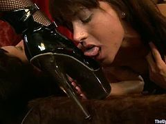 Sexy Bella Rossi and Cherry Torn stand on all fours. They get their pussies stuffed with big dildos. Later on someone also fix clothespins to their tits.