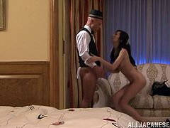 Watch this horny Asian babe has a great time with this bell-boy after she's had a few more drinks than she can handle.