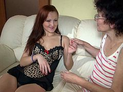 Watch filthy lesbian scene from Old Nanny studios! Torrid red haired young babe helps her old ugly partner to get naked and starts rubbing her wet dirty cunt.
