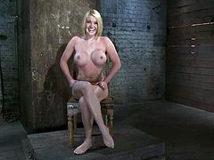 Stunning Krissy Lynn takes her dress off and then gets tied up. The guy also pinches her tits and puts a gag in her mouth. Later on she also gets toyed with a vibrator.