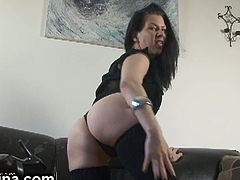 Hot MILF Mina sprawls out on the couch and gets her toys out to play with herself. She knows how to experience deep orgasms and wastes no time, but does it again.