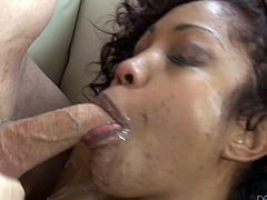 Slender Black girl gives a blowjob to White man. Then she takes the cheerleader uniform off and gets her wet pussy fucked hard in an interracial video.