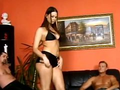 Captivating brunette Simony Diamond is having fun with two horny studs indoors. She drives them crazy with a terrific blowjob and then allows the dudes to pound her pussy and asshole.