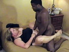 Who'd fuck such a fat lady, being so muscled and etc. Well, gigolos only! So, this black dude is out for an order for a hardcore interracial!