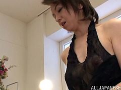 A lady like her needs some special love now and then. This mature beauty named Kanzaki shows us all how much she needs cock and semen. She begins to finger her pussy in front of the camera and then shows me that hot booty. I'm a lucky guy to see her so fucking horny and surely she will make me cum!