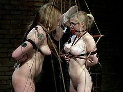 Blonde girls get tied up and undressed by their nasty brunette mistress. Then these blondes get wired and toyed with vibrators by Bobbi Starr.