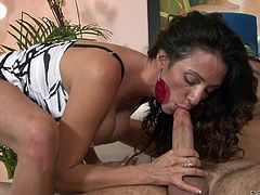 Horny long-haired Ariella Ferrera is trying her best to satisfy some dude. She favours him with a passionate blowjob and then they have sex in the reverse cowgirl and other positions.
