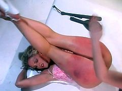 Her best brunette friend called her to come to her place to have some great time, but this blonde babe had no idea that her ass will be spanked hard