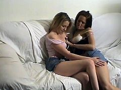 Sexy brunette girls take their jeans miniskirts off and shirts. They lick and then finger each others shaved pussies. Later on they also use a dildo to make it better.
