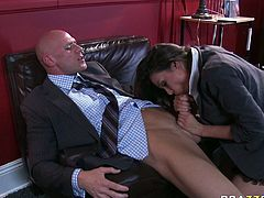 Watch this horny and slutty babe Alie Haze enjoy that tasty and large cock of her friend in his office in Brazzers Network sex clips.