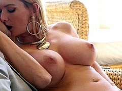 Astounding blonde Blake Rose shakes her huge boobs while riding gently on a cock
