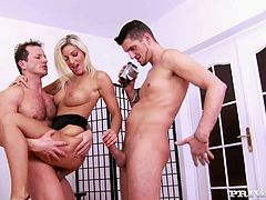 Top notch blondie Vanessa Jordin gets dual shagged in threesome