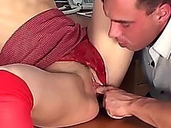 Secretary with small tits fucking in sheer red stockings on an office desk